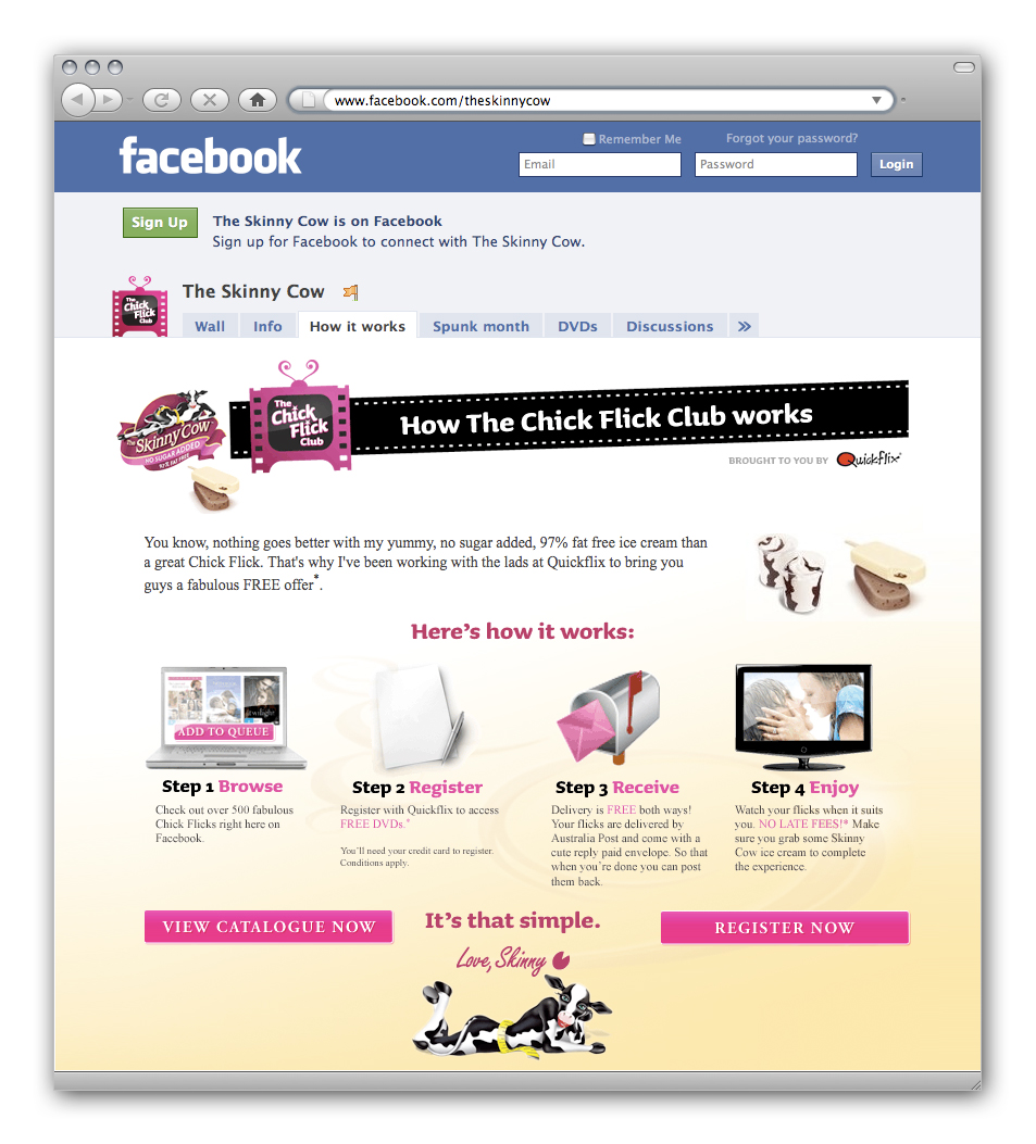 Skinny Cow Ice-Cream launches Facebook Chick Flick Club for