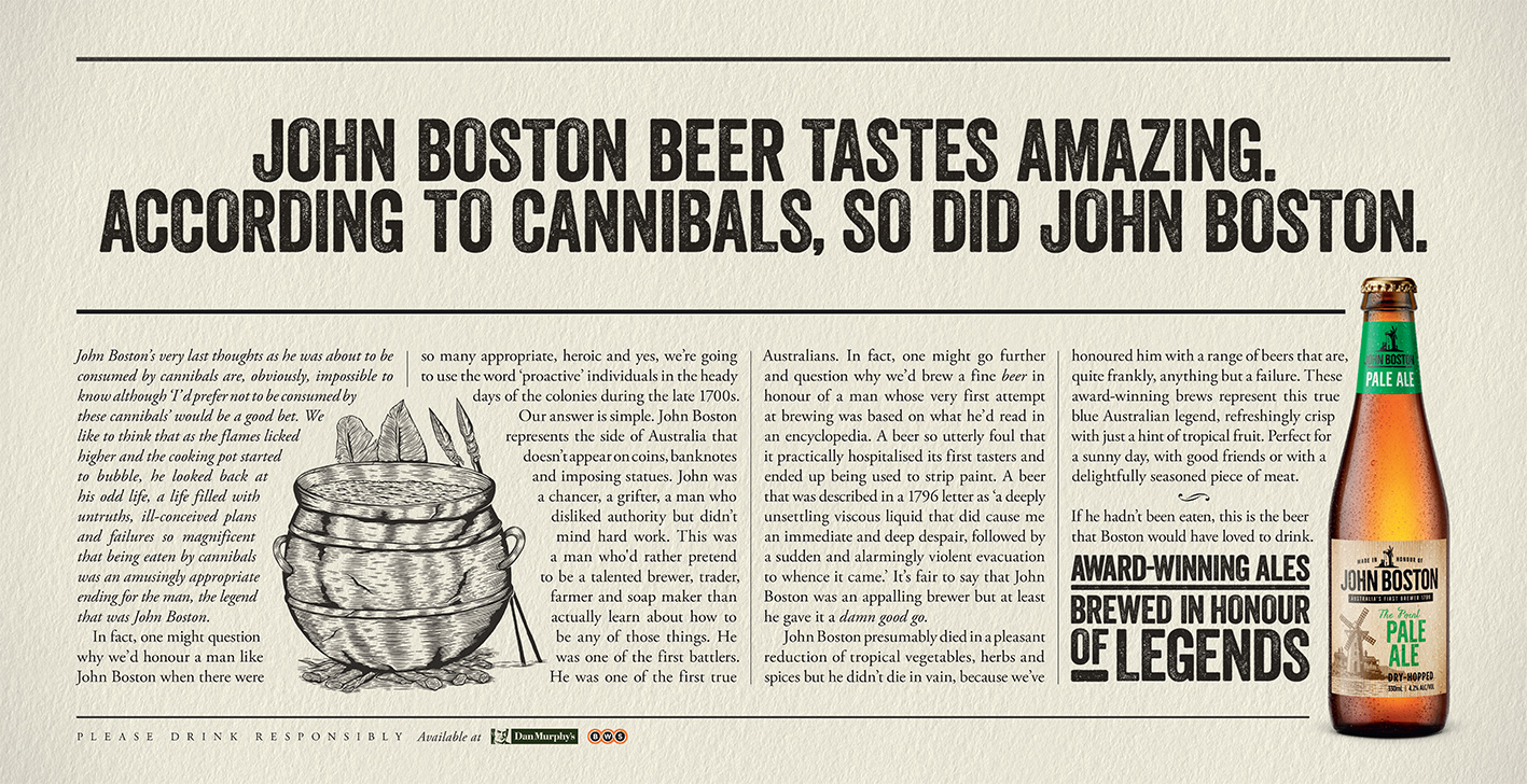 Craft beer John Boston taps into the legend with long-copy 'Brewed