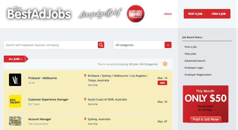 This week's best ad jobs @ TheBestAdJobs.com  – the site for employers to connect with job seekers in OZ, NZ, Asia, worldwide – only $50 per listing