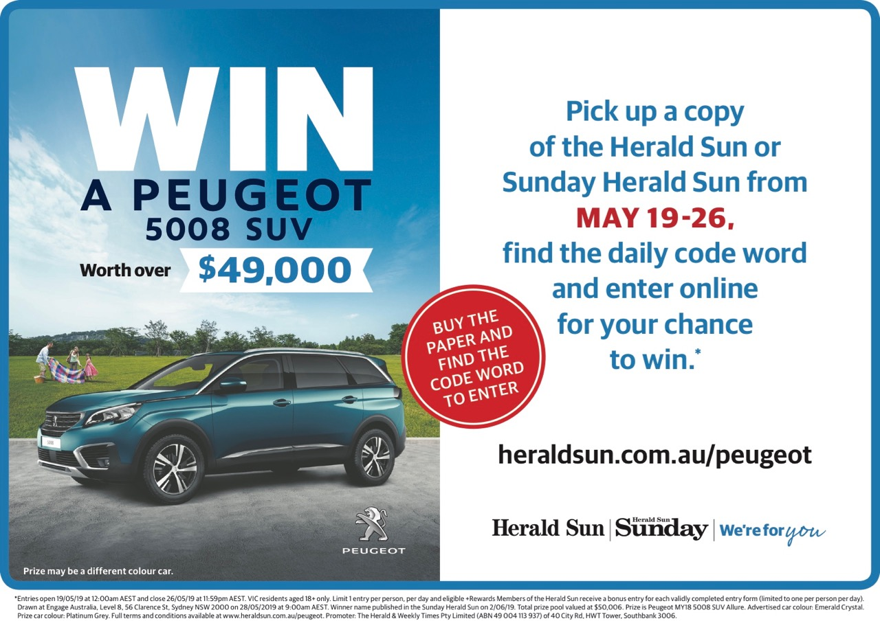 Peugeot partners with News Corp Australia for vehicle giveaway promo + campaign via The Works