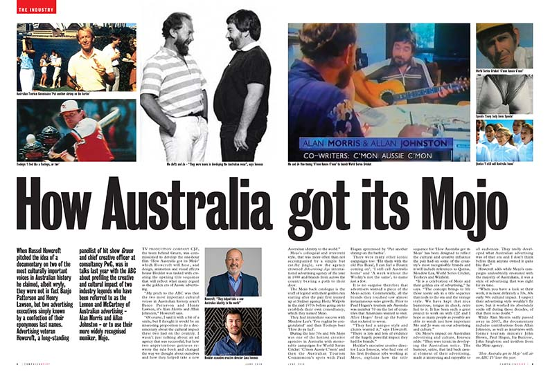 'How Australia got its Mojo' to air on ABC tomorrow (October 1); Hosted by Gruen's Russel Howcroft, the film reflects what many regard as the golden era of Aussie advertising