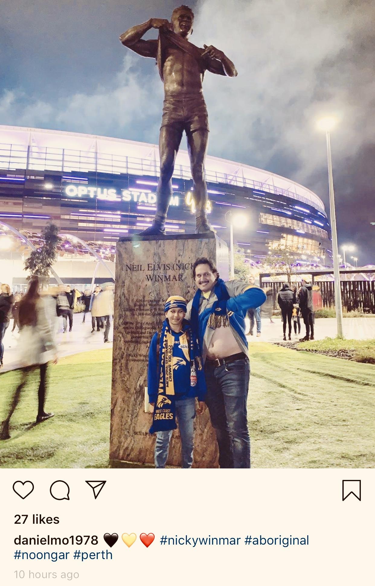Historic Nicky Winmar sculpture unveiled at Optus Stadium via Alex Wadelton + Aaron Tyler