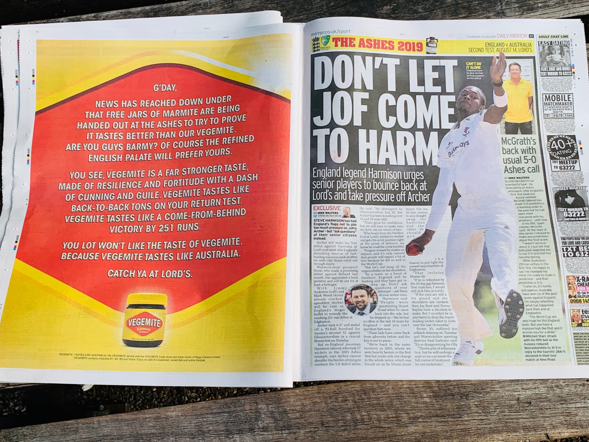 Aust vs England hostilities spread beyond the cricket field in new Vegemite ad via Thinkerbell