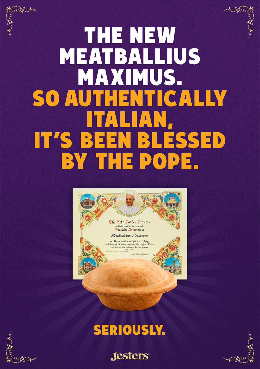 Jesters pie receives Apostolic Blessing from Pope Francis in new campaign via Meerkats, Perth