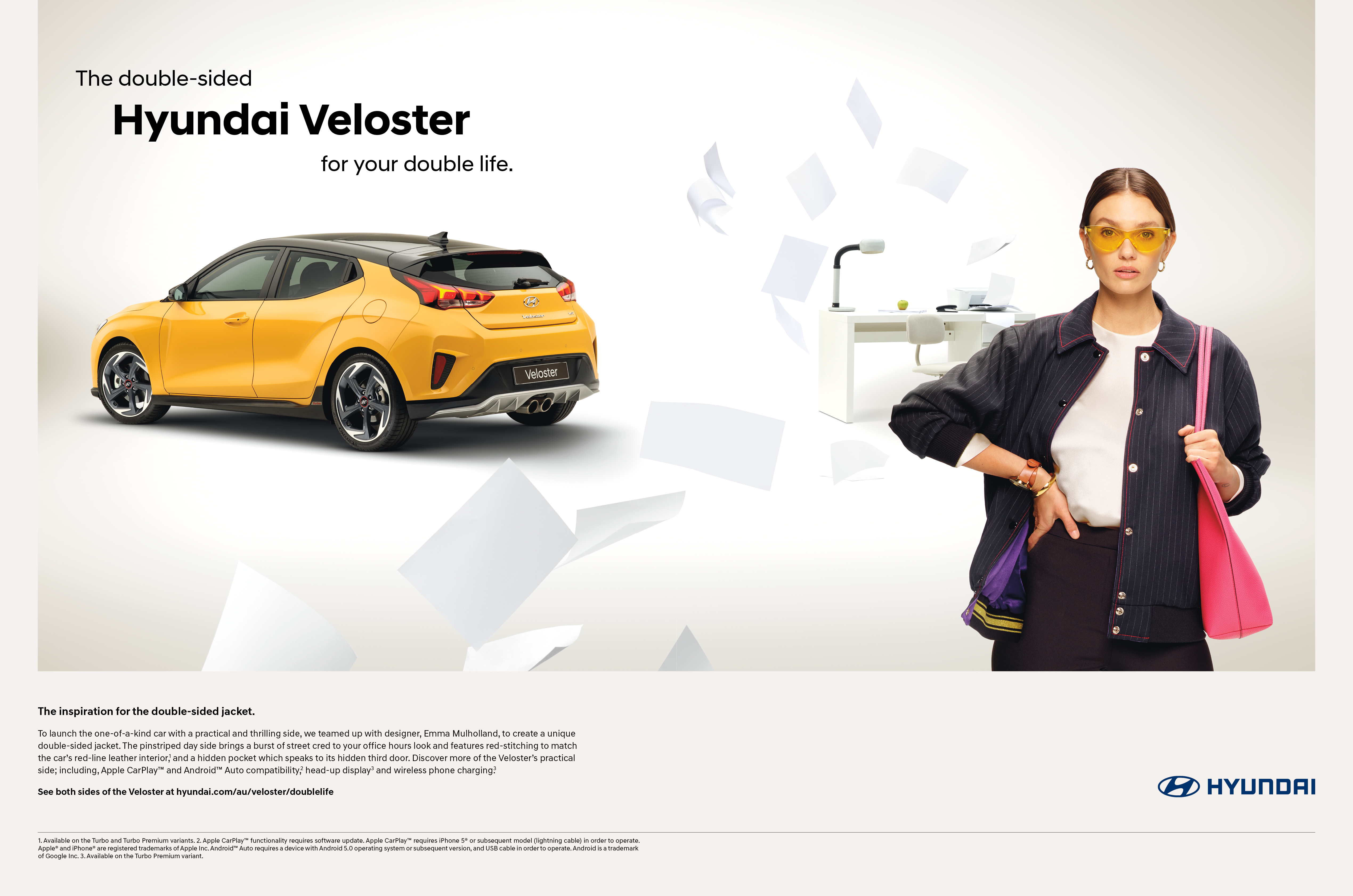 Hyundai teams up with fashion designer Emma Mullholland to launch the Veloster Double-Sided Jacket and campaign via Innocean Australia