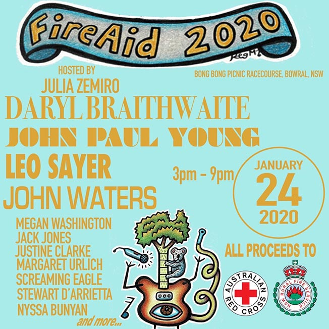 FIREAID 2020: AUSTRALIAN SINGER/ACTOR JOHN WATERS ANNOUNCES STELLAR CONCERT TO SUPPORT BUSHFIRE VICTIMS IN THE SOUTHERN HIGHLANDS