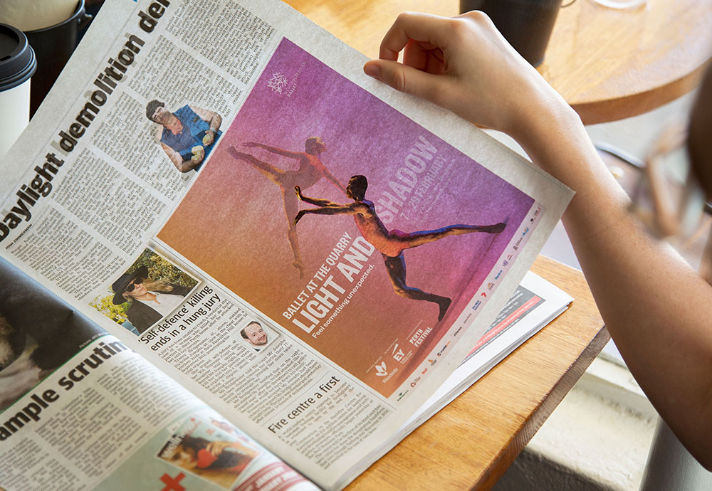 The West Australian Ballet promotes its 'Light & Shadow' series with new press ads via Meerkats
