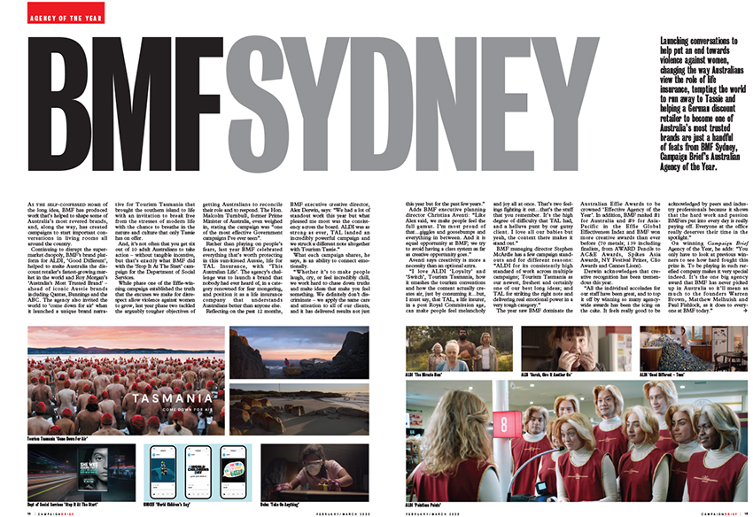 Home of the long idea: BMF Sydney crowned Campaign Brief Australian Agency of the Year