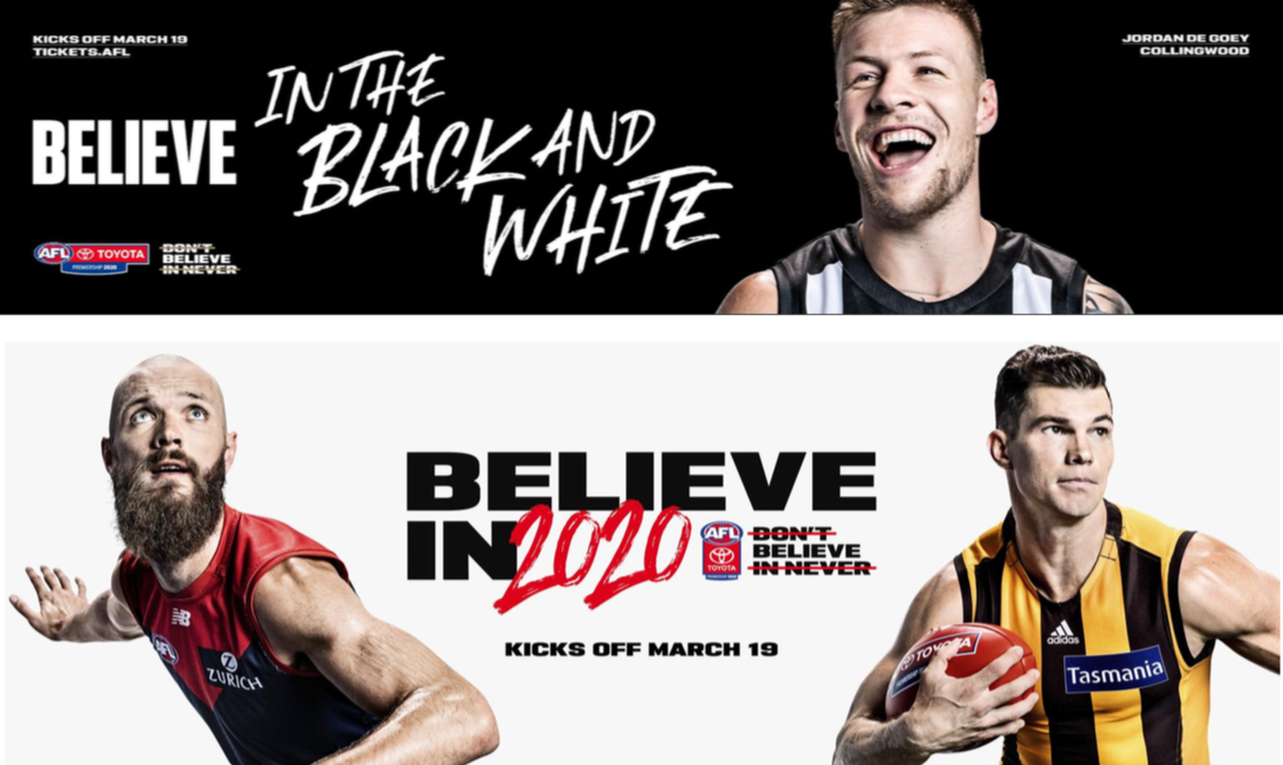 AFL launches new 'Believe' campaign ahead of 2020 Toyota AFL Premiership Season via AFL Media