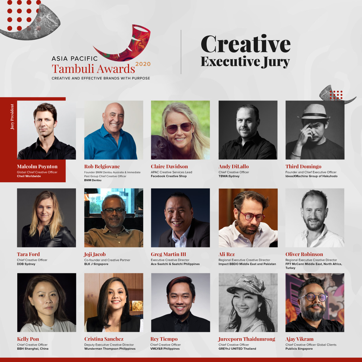 Tara Ford, Andy DiLallo and Rob Belgiovane join Asia Pacific Tambuli Awards Creative jury led by Malcom Poynton
