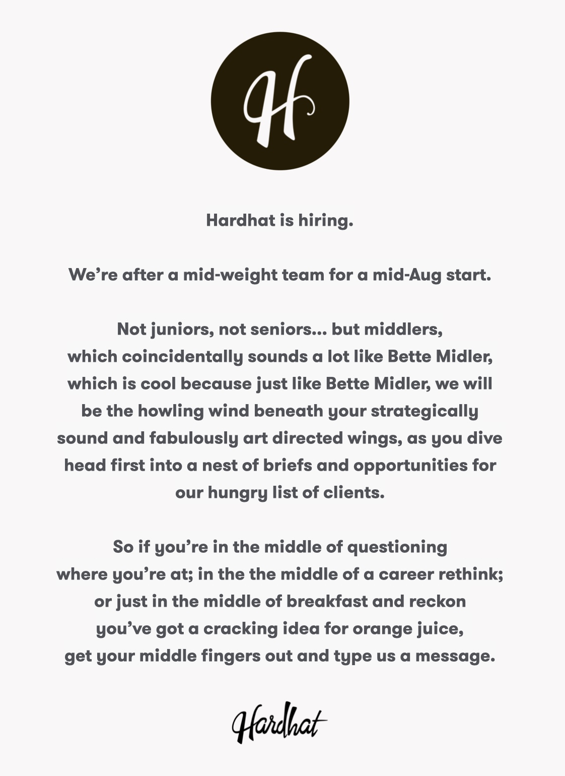 Independent Melbourne agency Hardhat channels Bette Midler in humorous recruitment ad