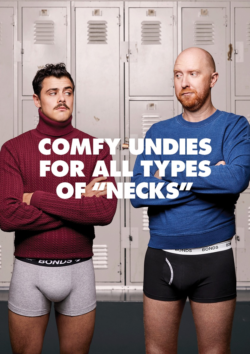 Bonds showcases undies for 'Turtlenecks' and 'Crewnecks' in latest campaign via Clemenger BBDO Melbourne