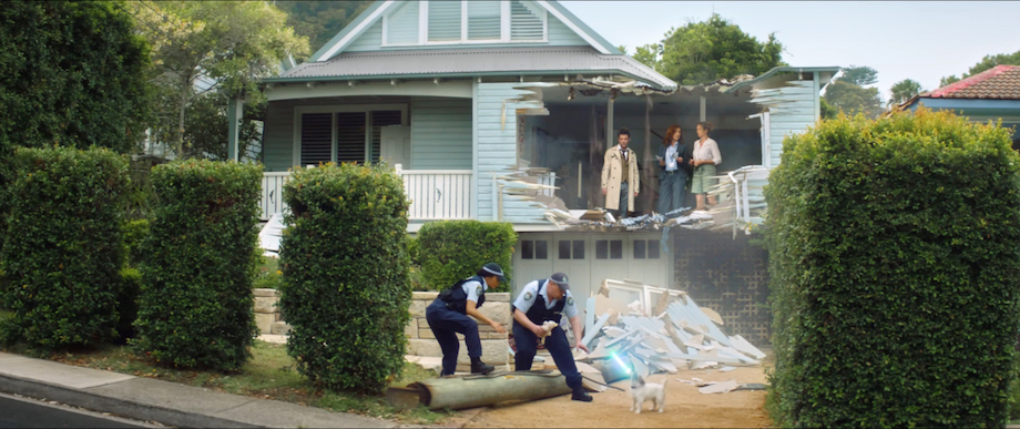 Neighbour's dog and a laser-sword create insurance drama in Budget Direct's latest TV campaign via 303 MullenLowe, Sydney