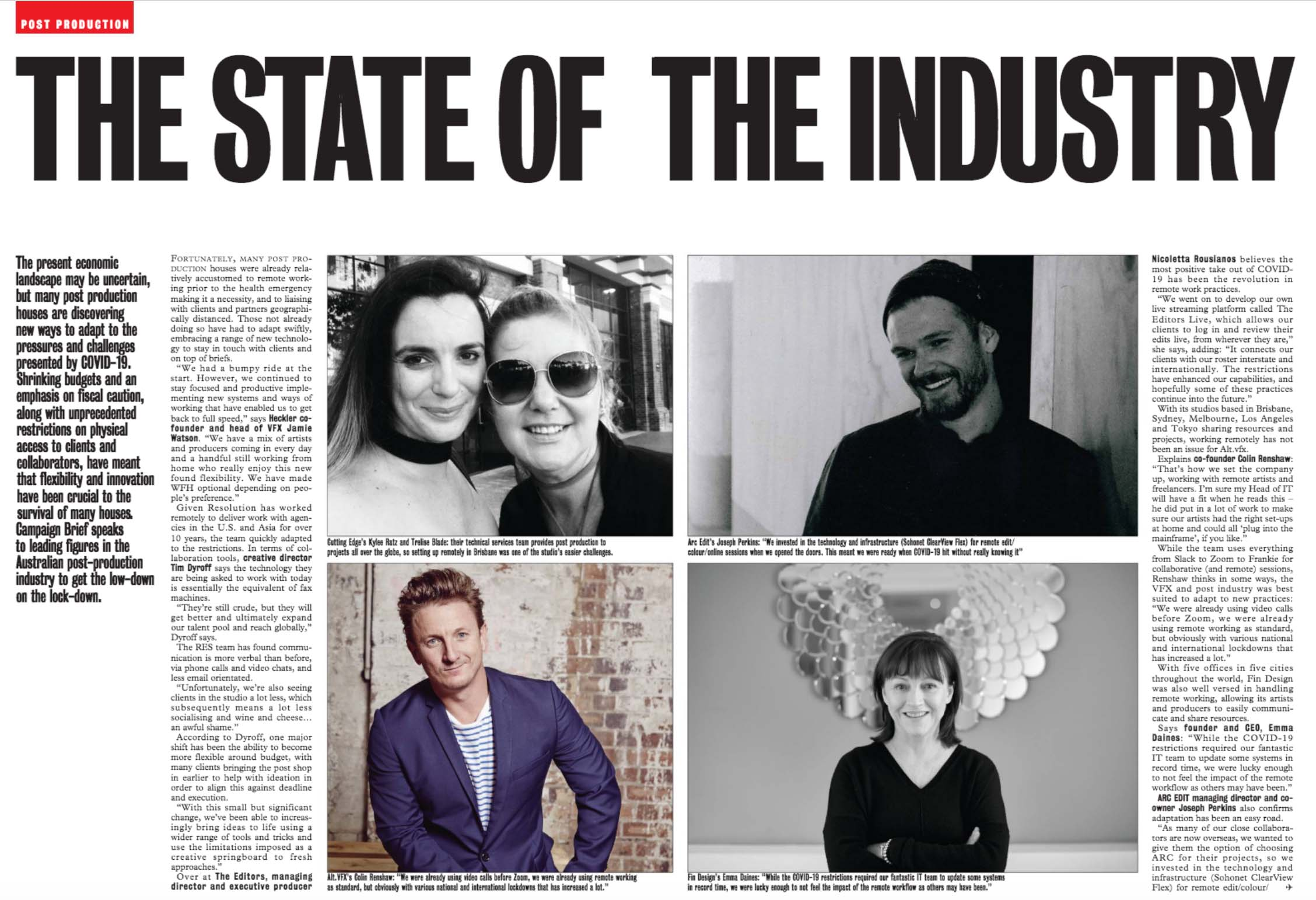 POST PRODUCTION: THESTATEOFTHEINDUSTRY ~ discovering new ways to adapt to the pressures and challenges presented by COVID-19