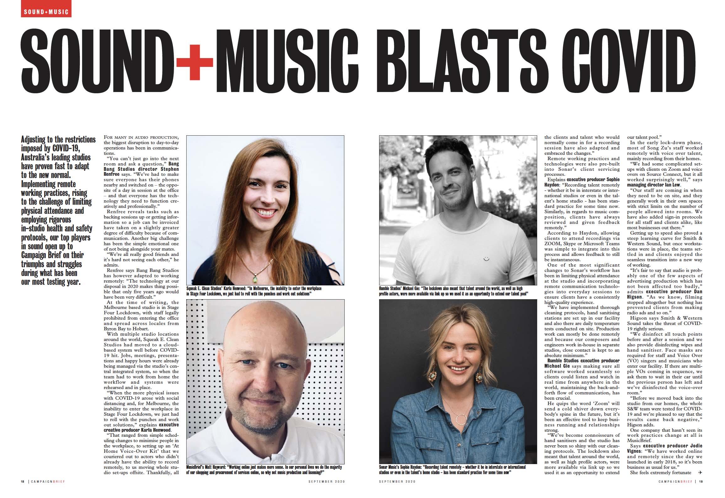 CB REPORT ~ SOUND+MUSIC INDUSTRY BLASTSCOVID