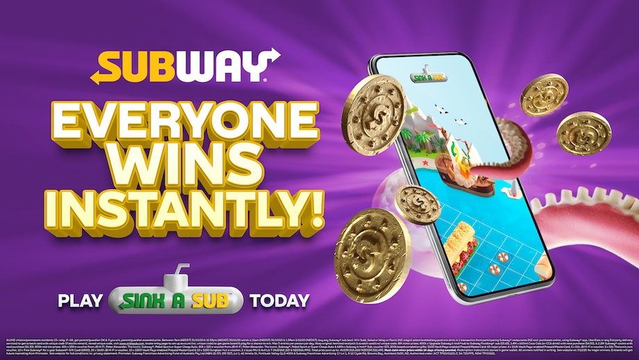 Subway launches 'Sink a Sub', its first-ever game, where everybody wins instantly via Wunderman Thompson Australia and New Zealand