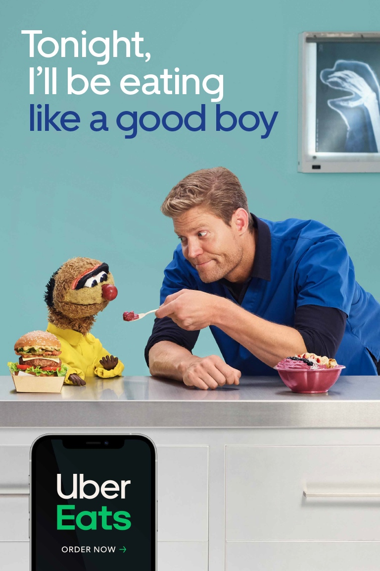 Bondi Vet Dr Chris Brown and iconic puppet Agro star in latest 'Tonight I'll Be Eating' campaign for Uber Eats via Special Group Australia