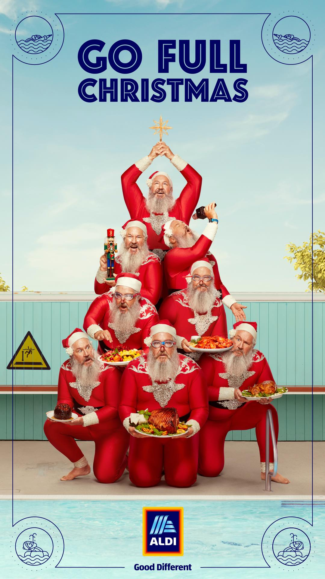 Santa dons a leotard and goes Full Christmas in ALDI's 2020 Christmas campaign via BMF