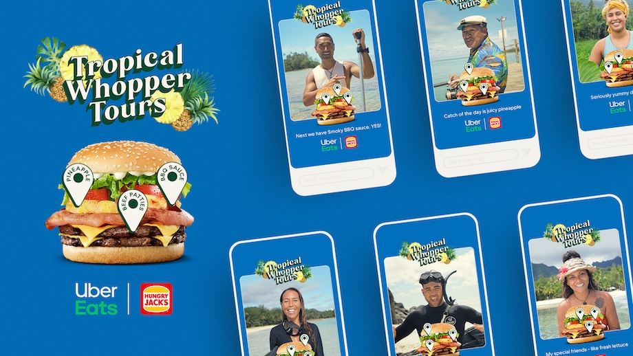 Tour guides swap tours of tropical destinations for tours of the Tropical Whopper Burger in latest Uber Eats campaign via Special Group