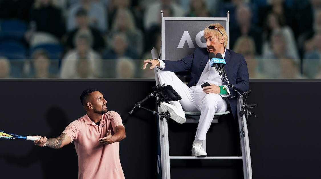 Sacha Baron Cohen is the Rogue Umpire in latest Uber Eats 'Tonight I'll Be Eating…' campaign for the Australian Open via Special Group Australia