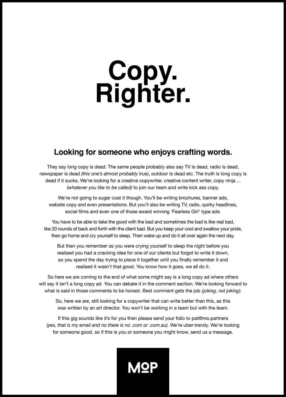Independent Melbourne agency Magnum Opus Partners is looking for a copyrighter