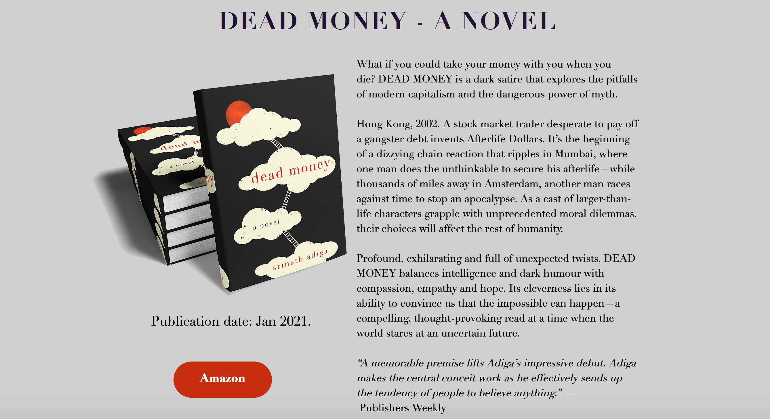 """Aussie expat creative Srinath Adiga's first novel 'Dead Money' published: """"He effectively sends up the tendency of people to believe anything."""""""