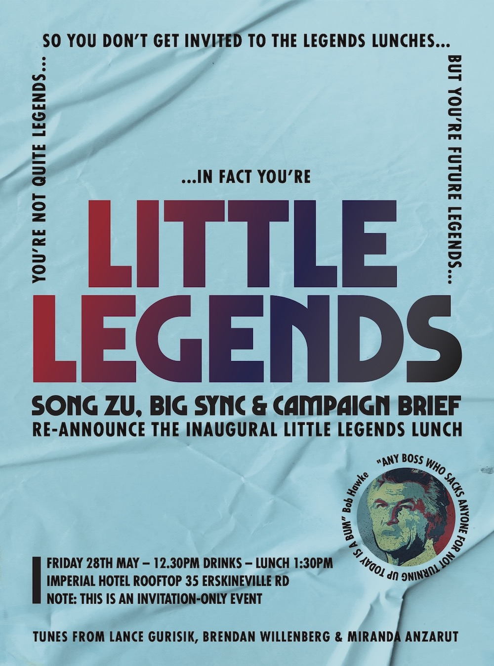 Song Zu, Big Sync and CB to hold Little Legends Lunch on May 28 at the Imperial Hotel, Sydney