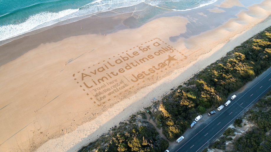 New campaign via Thinkerbell shows giant Jetstar coupons in some of Australia and New Zealand's favourite travel spots