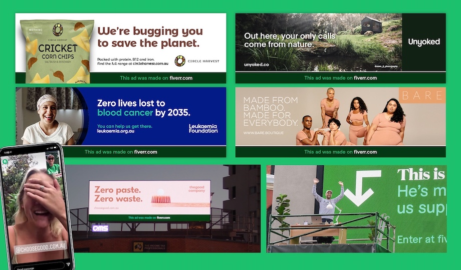 A freelancer attached to a large format billboard makes ads for Aussie businesses in new world-first Fiverr campaign via By All Means