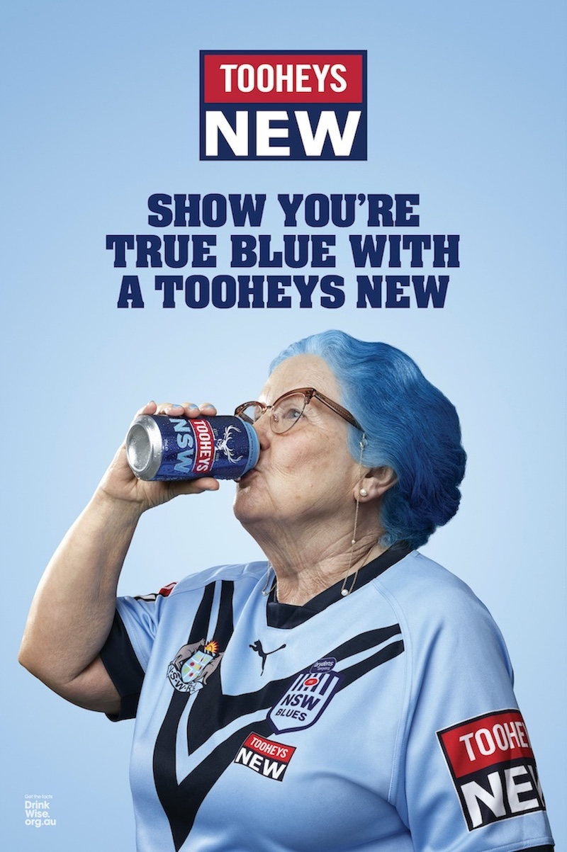 Lion reminds all of NSW that the best way to show your true blue is with a Tooheys NEW in latest brand campaign via Host/Havas