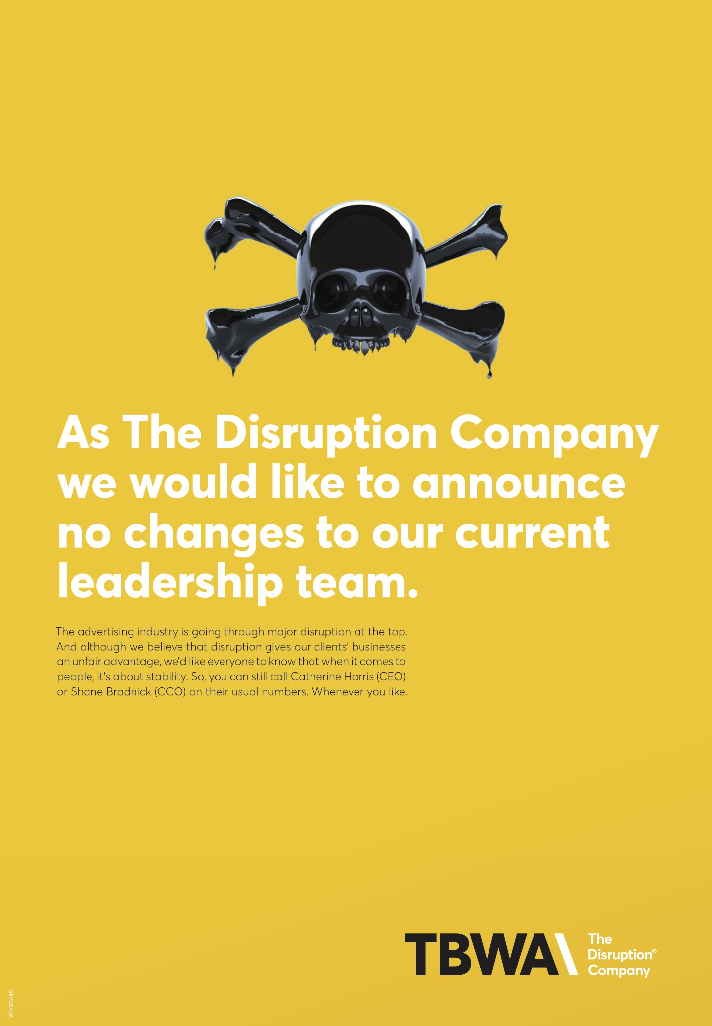 TBWA\NZ would like to announce no changes to its leadership in playful ad in the NZ Herald