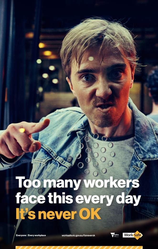 WorkSafe Victoria says workplace violence and aggression is 'never ok' in latest campaign via TBWA\Melbourne and FINCH