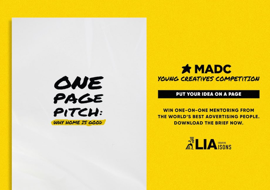 Entries now open for MADC's Young Creatives Competition 'One Page Pitch' in partnership with Creative LIAsons; deadline Monday, 28 June