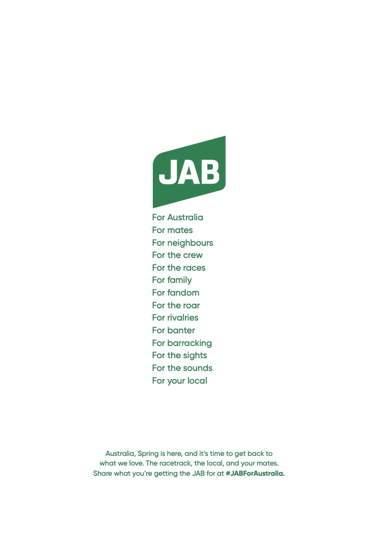 TAB encourages all Aussies to 'JAB For Your Local' in latest campaign via M&C Saatchi Sydney