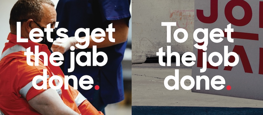 """John Holland says """"Let's get the jab done to get the job done"""" in new campaign via hellofuture.tv"""