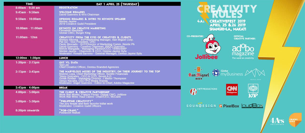 Philippines CreativeFest to include panel discussions featuring Melvin Mangada, Joey Tiempo, Stephen Douglas, Paolo Mercado, Mylene Lopa and Leigh Reyes on stage