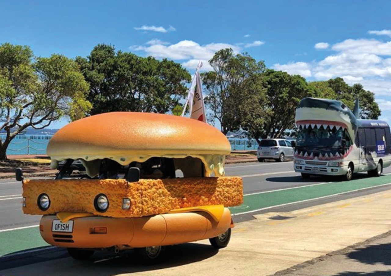 Seen+Noted: How Uber Eats punked Auckland's iconic Shark Bus to announce that it was now delivering McDonald's in New Zealand