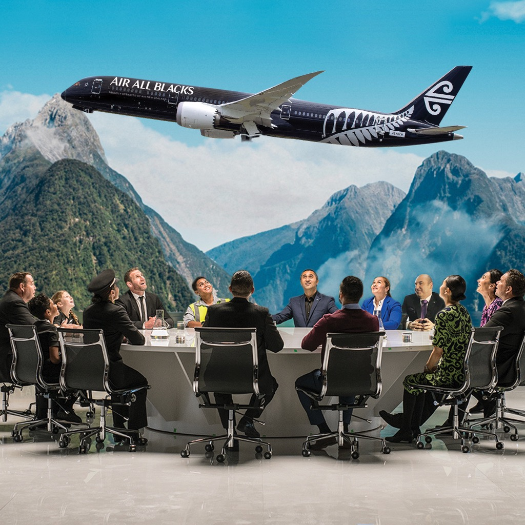 Famous faces star in Air New Zealand's latest safety video 'Air All Blacks' via Vision Thing