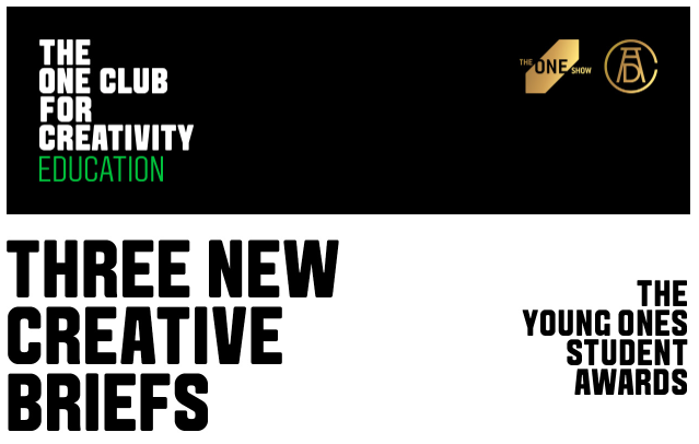 The One Club for Creativity announces three new briefs for The Young Ones Student Awards 2020