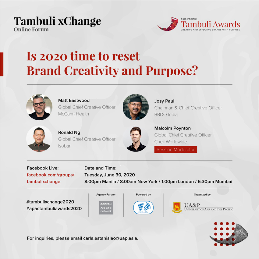Matt Eastwood, Ronald Ng, Josy Paul and Malcolm Poynton to speak on Brand Creativity and Purpose at Tambuli xChange online