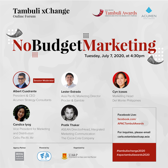 Tambuli xChange hosts online Chief Marketing Officer panel discussion July 7th on No Budget Marketing