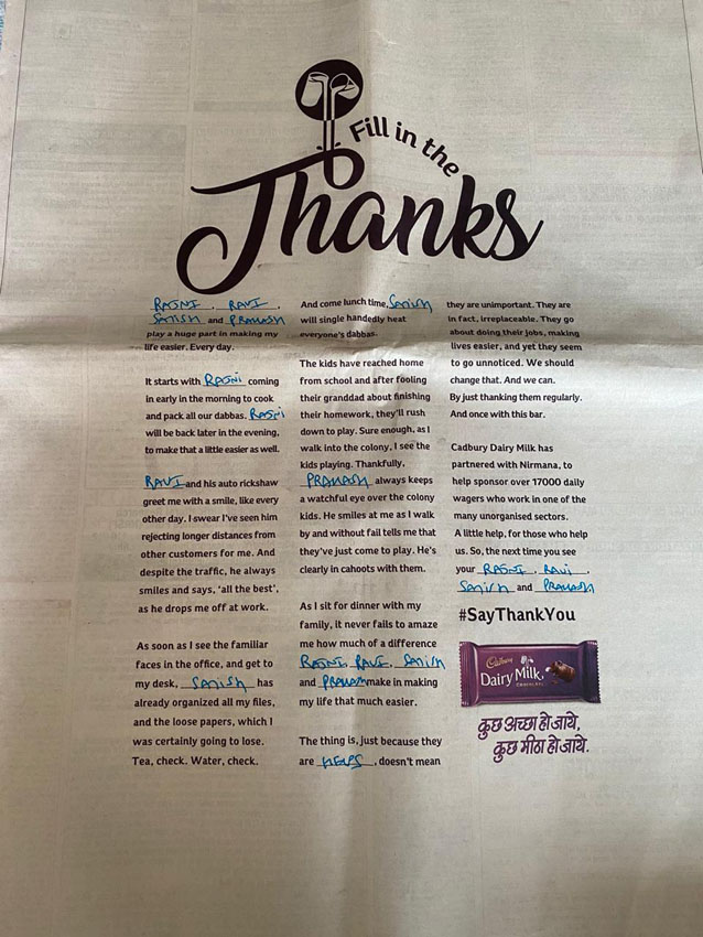 Ogilvy India releases print campaign for Cadbury Dairy Milk inviting readers to 'Fill in the Thanks'