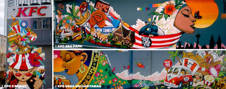 Naga DDB Tribal Malaysia teams up with local street artist, Kenji Chai to create three murals on KFC's walls expressing Malaysian culture