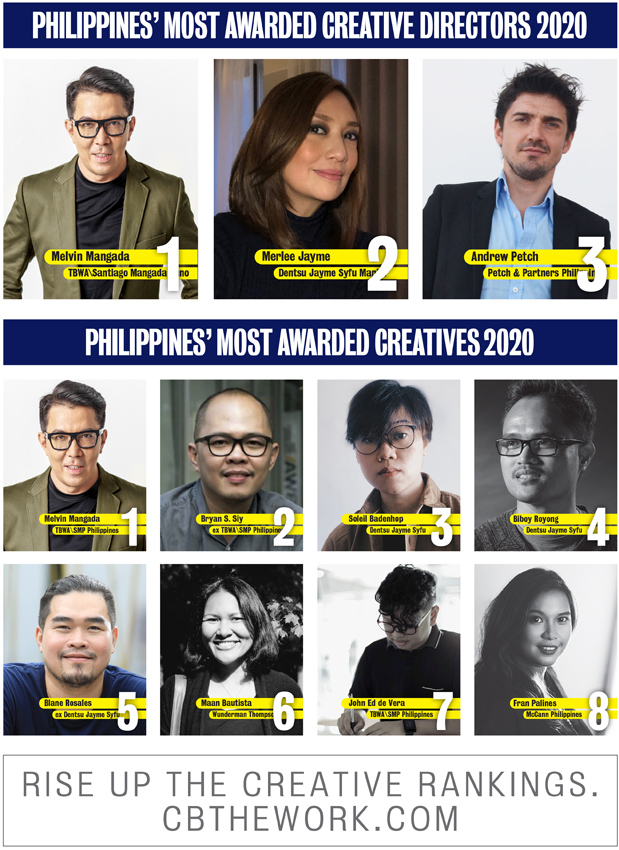 TBWA\Santiago Mangada Puno takes out Campaign Brief Asia's Philippines Creative Agency of the Year for the fourth time: Melvin Mangada ranked #1 creative followed by Bryan Siy and Soleil Badenhop