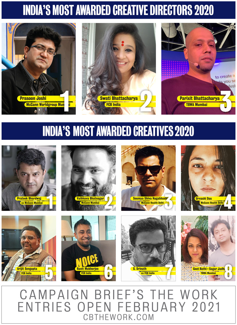 McCann Mumbai edges out FCB India for Agency of the Year award in Campaign Brief Asia's India Creative Rankings with TBWA Mumbai ranked #3