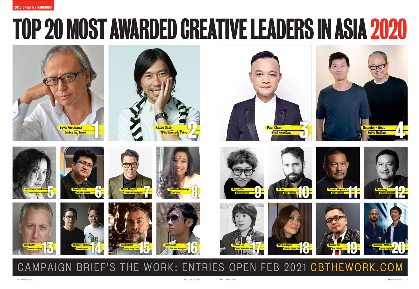 The Top 25 most awarded agencies in the 2020 Campaign Brief Asia Creative Rankings + the Top 20 most awarded creative leaders in Asia