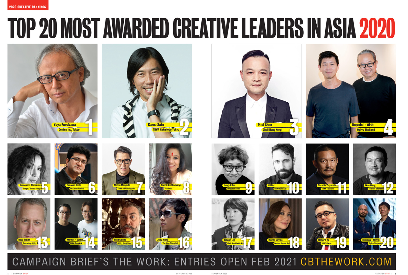 Download the complete 2020 Campaign Brief Asia Creative Rankings: The 227 most awarded agencies + 2147 most awarded individual creatives ranked