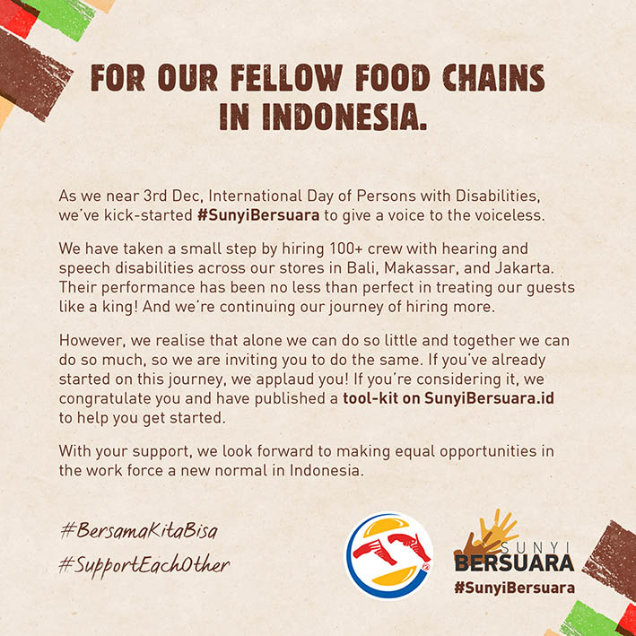 Burger King Indonesia's open letter social initiative gives a voice to the silent
