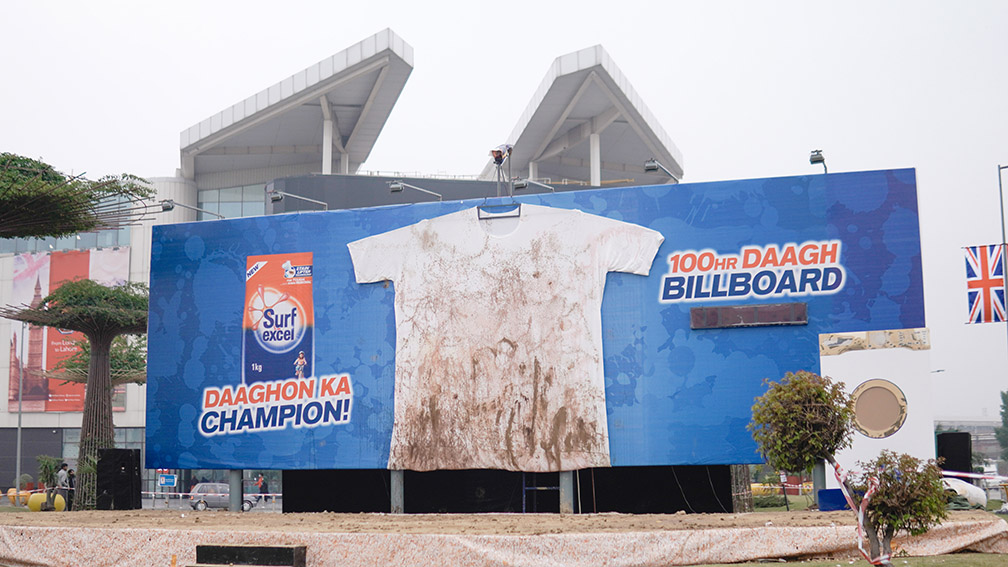 Surf Excel and BBDO Pakistan stage outdoor stunt and wash an entire billboard to launch new Stain Lifter Technology
