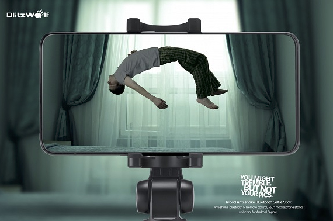 You might tremble but not your pics as shown in OPPO Creative China's print ad for Blitzwolf